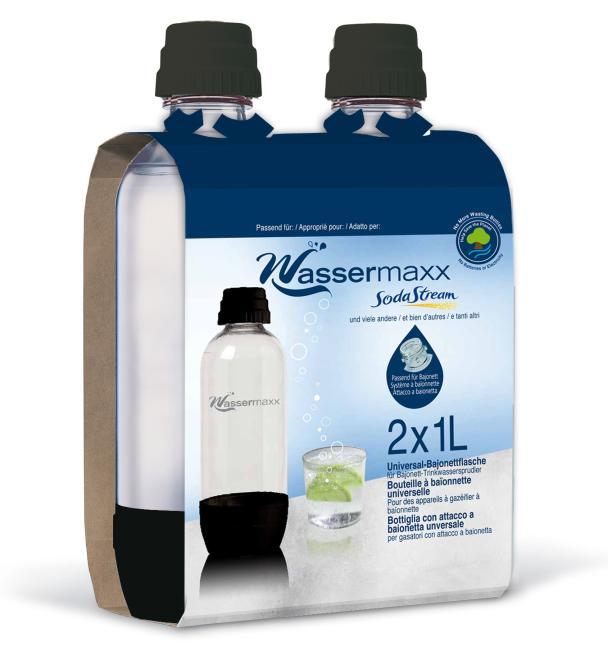 Flasche PET 2x1 Liter für WasserMaxx mit schwarzem Plastik-Verschluss